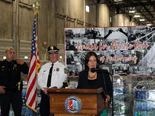 Perth Amboy Mayor Wilda Diaz (at podium) recently announced