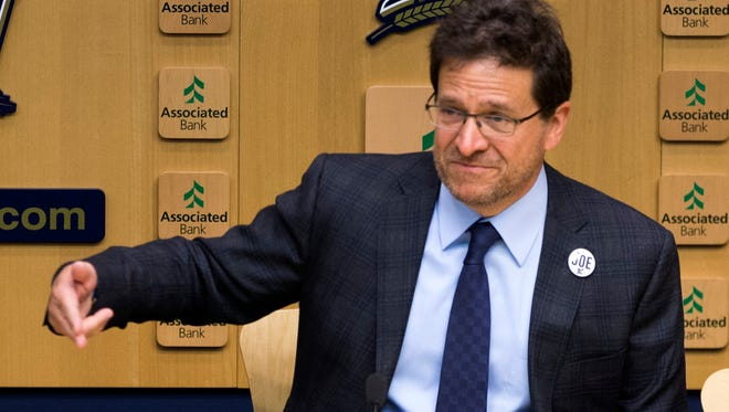 Milwaukee Brewers principal owner Mark Attanasio addresses the media before the team's home opener Monday at Miller Park.