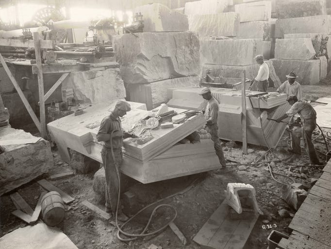 Once extracted from a quarry, limestone chosen for a project is carefully milled into manageable 10-ton blocks. Having a variety of potential uses, the yield of quarry stone is meticulously crafted to order by some of the state's finest artisans. Oct. 1929