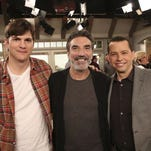 "(L-R) Ashton Kutcher, Creator/Executive Producer Chuck Lorre, and Jon Cryer are pictured behind the scenes during taping of the series finale of the CBS comedy ""Two and a Half Men"""