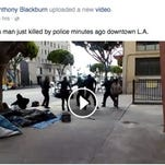 A screenshot from Facebook shows the LAPD shoot and kill a homeless man after he struggled with them during an arrest.