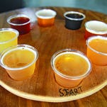A selection of beers is featured at Hangar 24 craft brewery in Redlands, Calif.