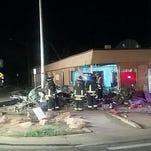 A car slammed into Greeley radio station KFKA.