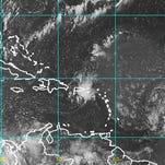 Satellite image of Hurricane Danny over the Atlantic Ocean. Tropical Storm Erika is forecast to gain strength.
