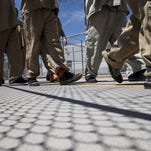 Detainees go for lunch in the Eloy, Arizona, immigration detention facility.