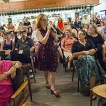 Republic reporter Barbara VanDenburgh hosts the First Draft Book Club at Changing Hands Bookstore in Phoenix Wednesday, Aug. 25, 2015.