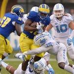 Delaware's Thomas Jefferson scored a touchdown for Delaware on Saturday, Sept. 26, 2015.