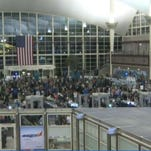 Long lines at the DIA airport Monday night caused many to miss their flights.