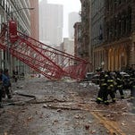 A crane collapsed in New York City, along Worth Street between Broadway and Church Street.