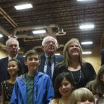 Bernie Sanders watches New Hampshire primary results with his family.