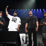 Members of N.W.A.  DJ Yella, Ice Cube, Dr. Dre and MC Ren perform at the second weekend of Coachella Valley Music and Arts Festival on April 23, 2016 in Indio, Calif