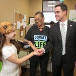 From left, heart transplant recipients Lauren Shields of Stony Point and Roxanne Watson of Spring Valley meet with Sen. David Carlucci in his Nanuet office in this 2012 file photo.
