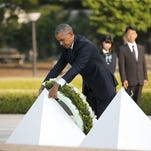 President Obama lays a wreath at Hiroshima Peace Memorial Park in Hiroshima, western, Japan, Friday, May 27, 2016.