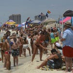Pensacola Beach was packed Saturday.