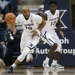 Myles Davis (left) and the Musketeers will open the regular season Nov. 11 against Lehigh at Cintas Center.