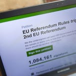 A computer screen taken on June 25, 2016, shows a page containing a petition calling for a second Brexit referendum on the Brexit on the question of the U.K. leaving the European Union.