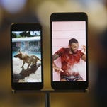 The iPhone 6 and iPhone 6 plus were on display in the front windows of the Apple store.