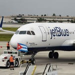 JetBlue Flight 386 departs for Cuba on August 31, 2016 from Fort Lauderdale National Airport in Fort Lauderdale, Florida.