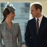 Prince William and Duchess Kate on Oct. 21, greeting President of Singapore in London.