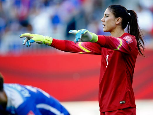 United States goalkeeper Hope Solo (1) directs the