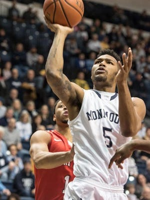 Deon Jones attempts a shot against Fairfield University on Friday night during Monmouth University's 91-67 win