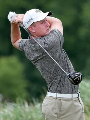 Evansville North's  Stewie Hobgood tees of on the 2nd hole during the IHSAA Boys Golf State Championship at Prairie View Golf Club in Carmel Tuesday  June 13, 2017.