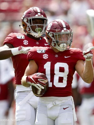 Alabama wide receiver Slade Bolden (18) celebrates a first down catch during Alabama's 49-7 victory over Southern Miss Saturday, Sept. 21, 2019 in Bryant-Denny Stadium.