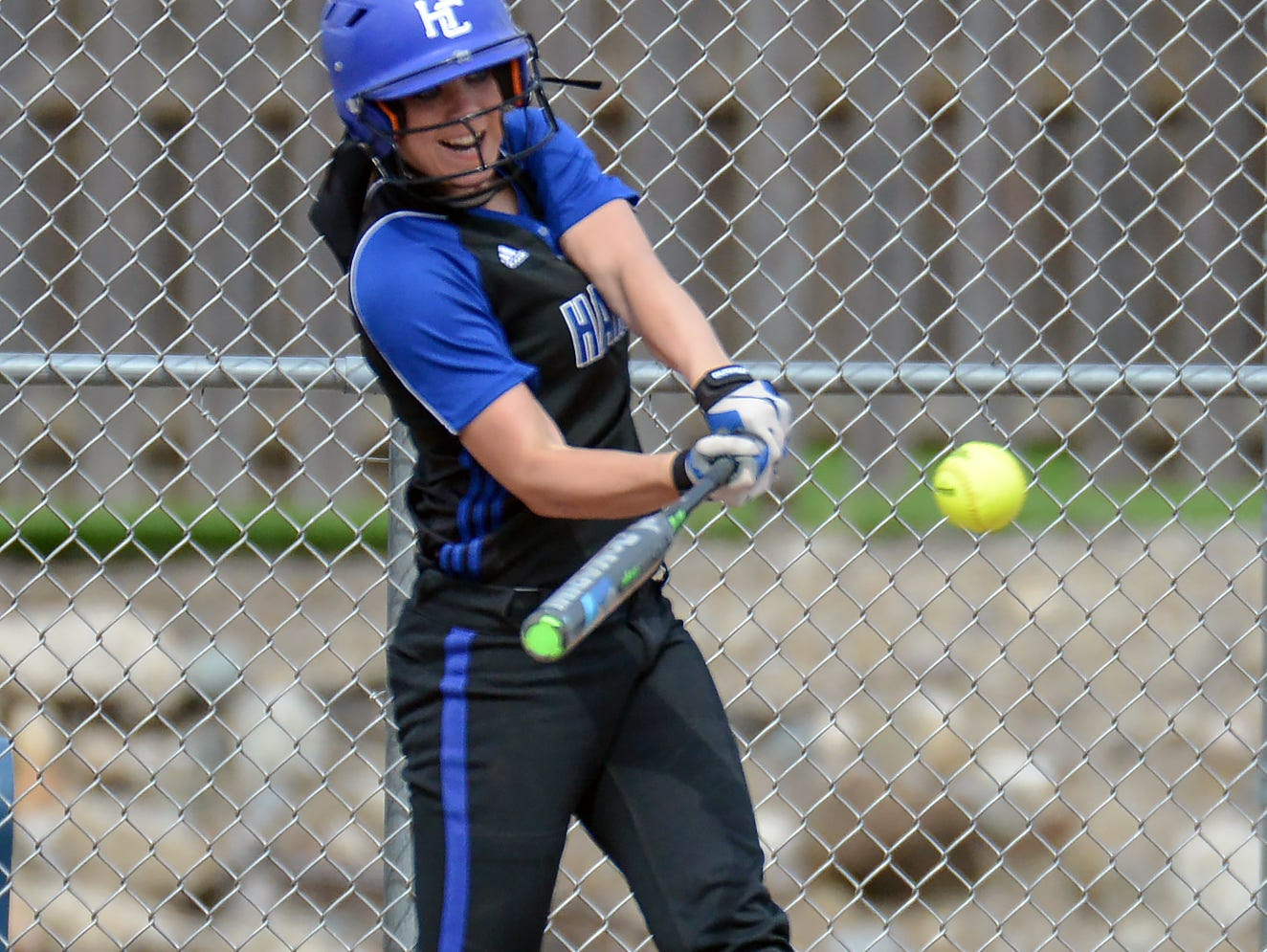 Taylor Shellenberger of Harper Creek during a game earlier this season. Harper Creek has won the All-City softball title three years in a row.