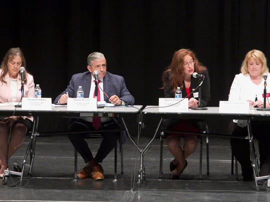 Candidates for the 44th Circuit court Judge, from left, 53rd District Court Judge L. Suzanne Geddis, Dennis L. Brewer, Tara A. Pearson and Monica J. Copeland spoke at a candidates' forum Thursday, July 12, 2018 at the Hartland Educational Support Service Center.