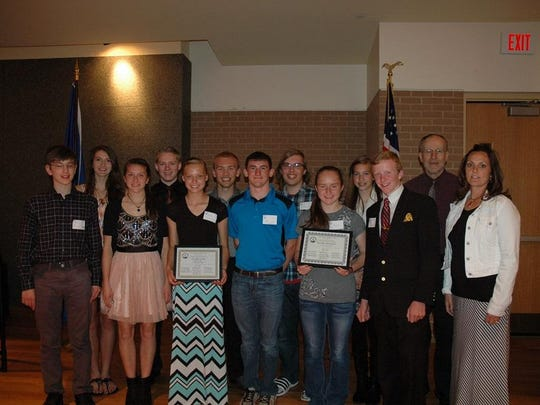 Students from Tri-County High School honored at the at 45th Annual Central Wisconsin Mathematics League banquet include (back row, from left) Ivy Klabunde, Quincy Pfaff, Matthew Nigh, Payton LaPorte, Andrea Boyd, advisor John Mesyk; (front row, from left) Ken Becher, Macy Klabunde, Brooke Hopkins, Tyler Kramer, Katie Craig, Danny Kaehn and advisor Annette Carroll.