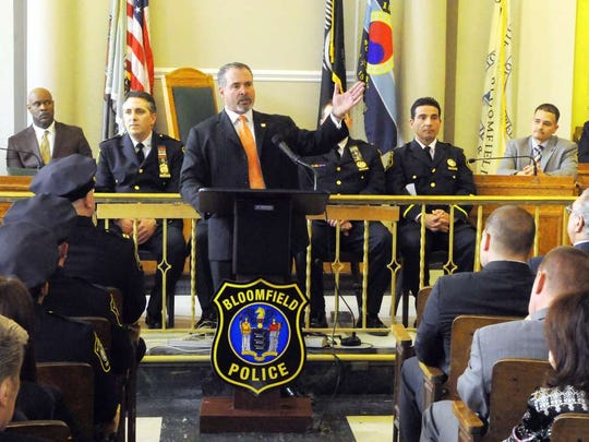 Bloomfield Police Director Samuel DeMaio addresses a police promotion ceremony in March 2015.