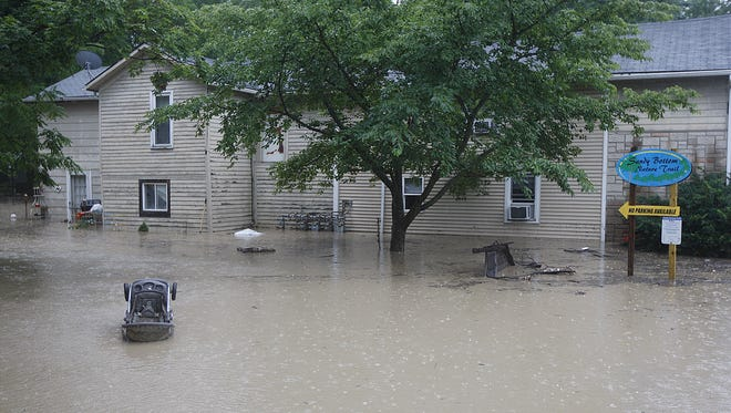 A home is flooded that was near Honeoye Creek.