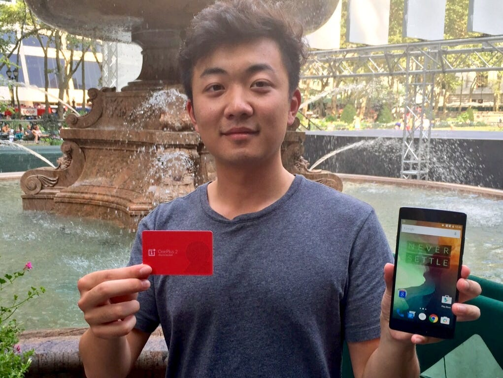 OnePlus co-founder Carl Pei with the new OnePlus 2 smartphone