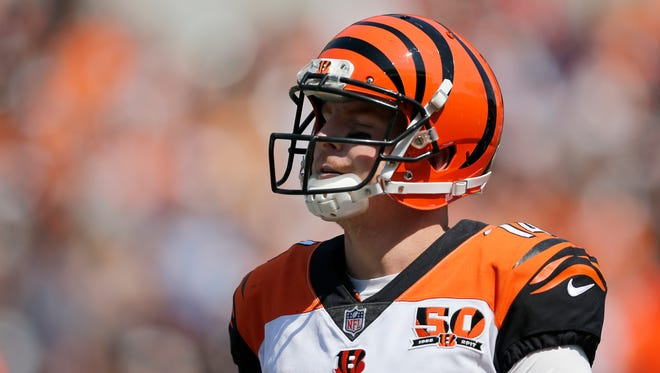 Andy Dalton has thrown three interceptions in the first half against the Ravens.