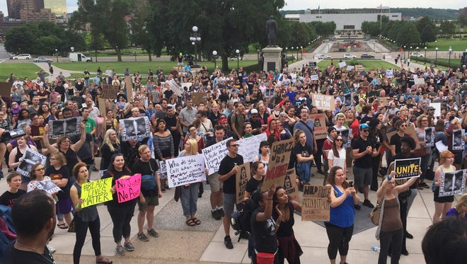 Protesters gather outside the state Capitol in St. Paul, Minn., on June 16, 2017, after St. Anthony police officer Jeronimo Yanez was cleared in the fatal shooting of Philando Castile.