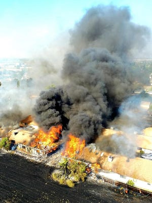 A five-alarm fire in the 200 block of West Clover Road in Tracy damaged five residential structures including nine residences on July 5, displacing as many as 40 adults and children. The community has rallied to help by organizing Adopt-A-Family to assist those displaced start to rebuild their lives.