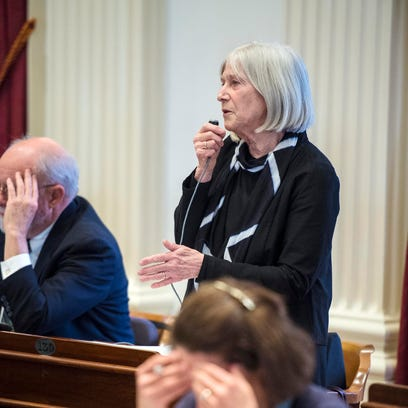 Rep. Janet Ancel, D-Calais, chairwoman of the House Ways and Means Committee, reports out a tax bill at the Statehouse in Montpelier on March 26.