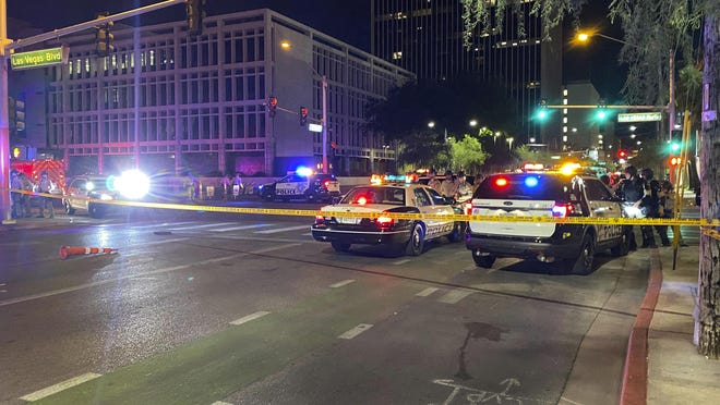 Police block off Las Vegas Boulevard South after officers fatally shot a man in front of the Foley Federal Building in downtown Las Vegas Monday, June 1, 2020.
