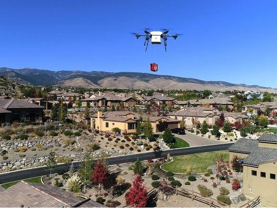 A Flirtey drone delivers a defibrillator as part of a joint emergency program with Regional Emergency Medical Services Authority in Reno.