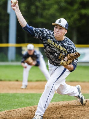 Post 1's Matthew Danz, seen here pitching for Delaware Military Academy, improved to 7-0 by allowing 11 hits with zero walks and seven strikeouts in the nine-inning game.