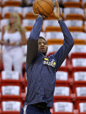 Indiana Pacers forward Paul George during shoot around against the Miami Heat before Game 6 of the Eastern Conference Finals inside AmericanAirlines Arena, Friday, May 30, 2014, in Miami.
