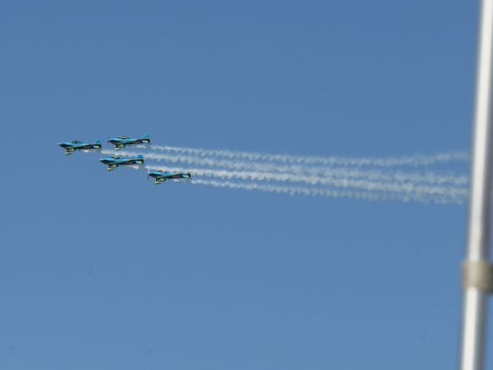 The ethanol-powered Vanguard Squadron flies over during the arrival of dignitaries during the grand opening of POET-DSM's first commercial cellulosic ethanol plant in Emmetsburg in 2014.