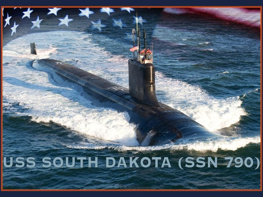 An artist rendering of the Virginia-class submarine USS South Dakota (SSN 790). (U.S. Navy photo illustration by Stan Bailey/Released)