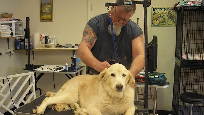 Bob Turnley grooms a client at Staunton Dog Wash last year before passing away Feb. 16 from flu complications.