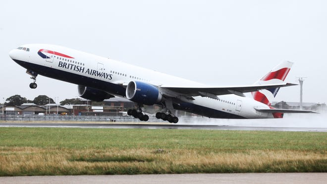 A British Airways Boeing 777-200 takes off from London on July 27, 2009.