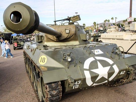 This 1944 M18 Hellcat tank destroyer has a  76mm main gun.