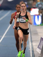 Molly Huddle wins the women's 10,000m in 31:52.32 during the 2018 USA Championships at Drake Stadium.
