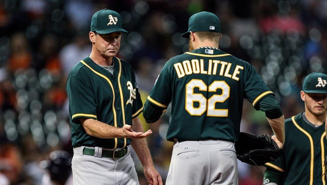 """Athletics manager Bob Melvin and reliever Sean Doolittle both sound wary of a closer by committee approach. """"It would take the right guys in the bullpen to handle that,"""" says Doolittle."""