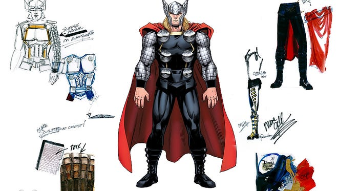 Composite designs for the Marvel Universe LIVE! Tour character Thor.