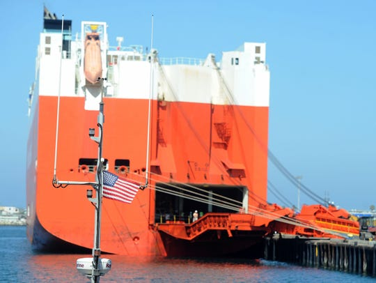 Cars are unloaded from the Wallenius Wilhelmsen at the Port of Hueneme. STAR FILE PHOTO